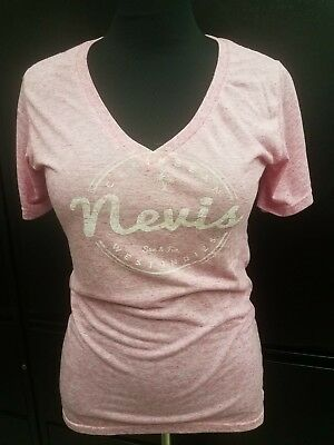 Caribbean Apparel (Nevis Caribbean West Indies Light Pink V-Neck T-Shirt Piratee Pima Apparel XXL)