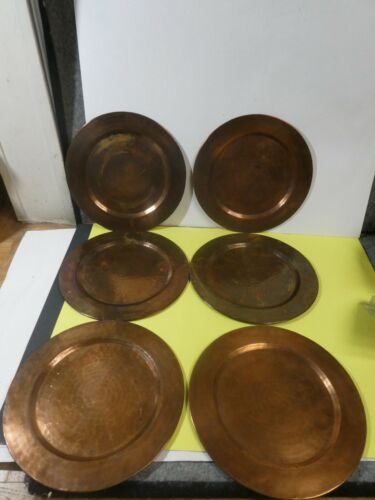 Set of 6 Solid Hammered Copper Chargers Plates 11.75""