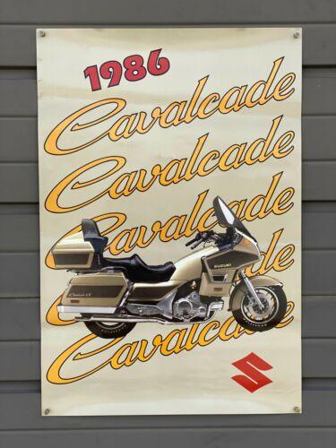 Vintage NOS 1986 Suzuki Cavalcade Motorcycle Dealership Poster Window Sign