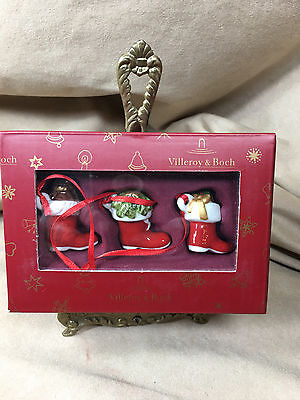 Villeroy & Boch My Christmas Tree Ornament/Decoration - NIB - 2 Santa Boots