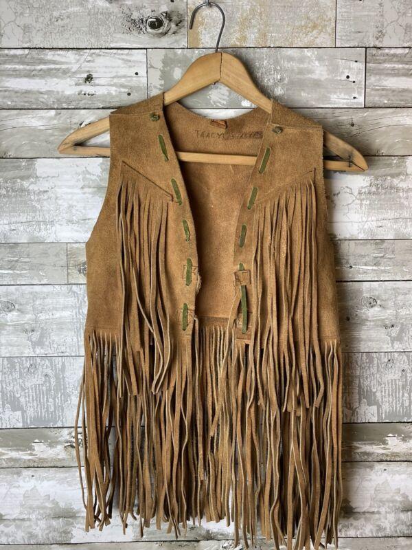 1960s / 70s Kids Size Suede Leather Fringe Vest Rockabilly Size s