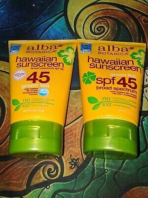 REEF FRIENDLY SAFE! 2 bottles Alba Botanica Hawaiian Sunscreen SPF 45 Green Tea -