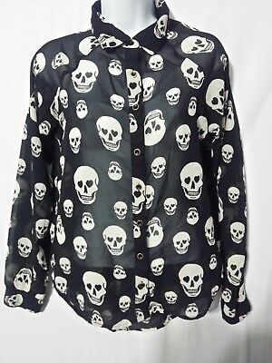 Fun & Flirt Black Halloween Top Size Small Skull Print Tab Long Sleeves Sheer  (Halloween Tab)