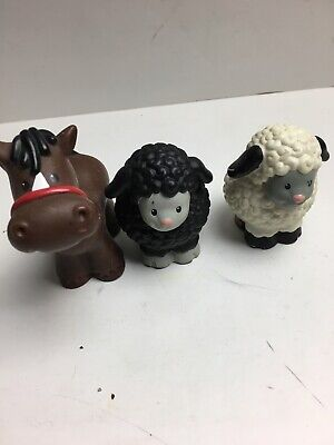 3 Lot Fisher Price Little People Farm, Zoo Noah's Ark Horse, white & black Sheep