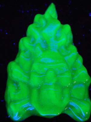 Blue cobalt Vaseline glass Gothic skull head crossbones uranium fire hell pirate