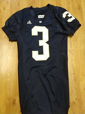 659d7ae80 2009 ADIDAS TEAM ISSUED AUTHENTIC GAME NOTRE DAME FOOTBALL HOME JERSEY  3  Floyd
