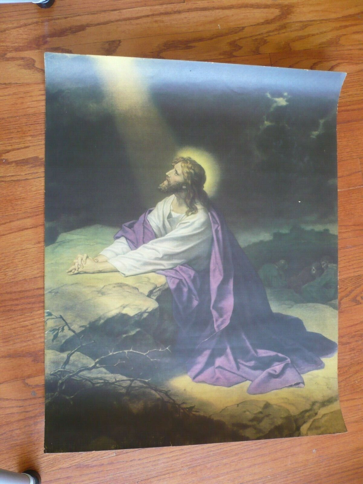 Jesus Praying To God The Father In Gethsemane By Heinrich Hofman 22 X 28 Inches - $50.00