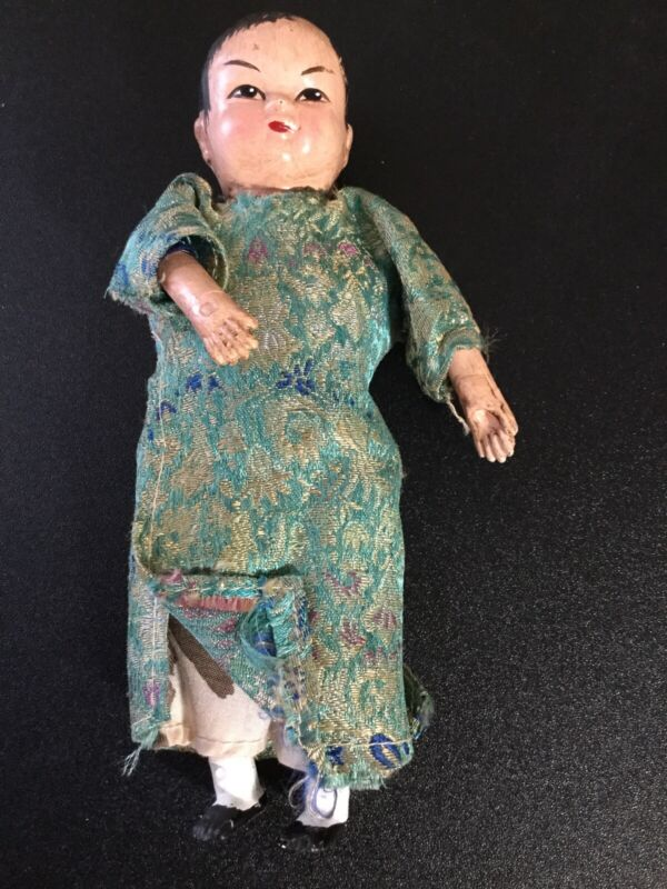 RARE ANTIQUE CHINESE BOY DOLL HANDPAINTED.