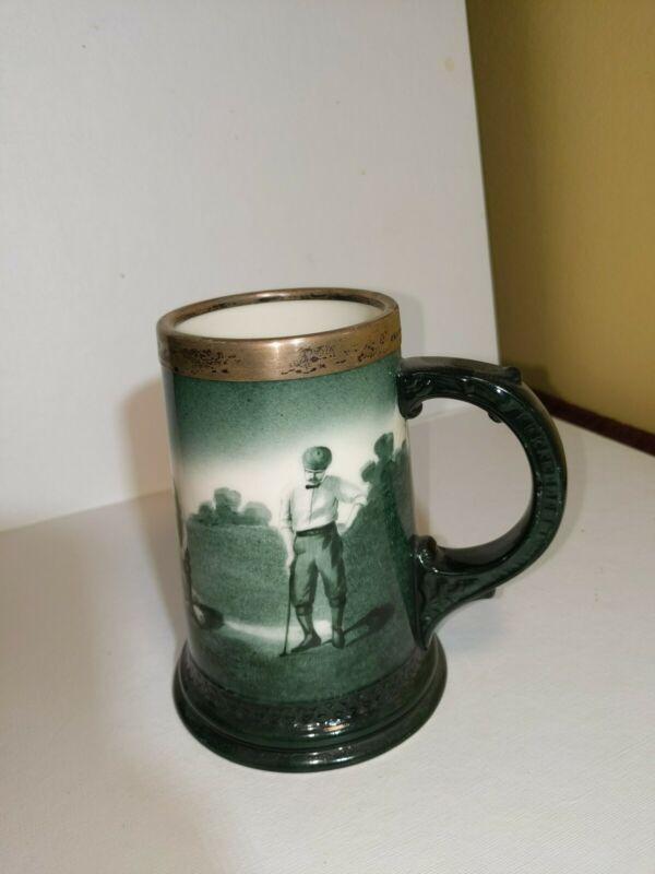 Antique Lenox Porcelain souvenir mug sterling silver rim 1903 Golf Championship