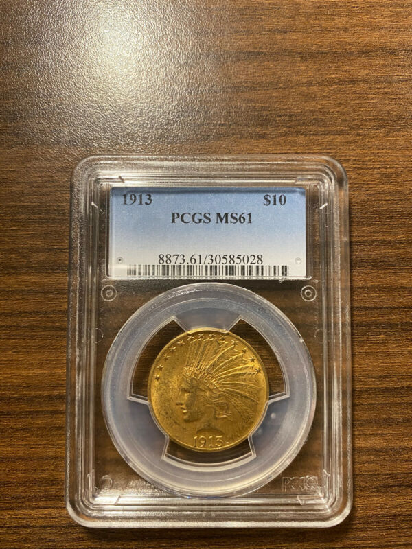 1913-P Indian Head $10 Gold Eagle PCGS MS 61 Ten Dollar Gold Type 4, With Motto