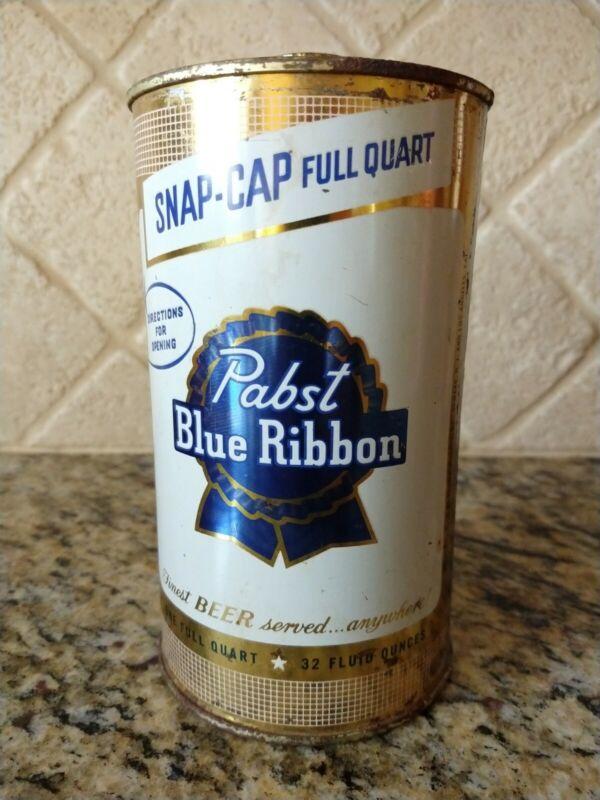 Pabst Blue Ribbon Quart Cone Top Beer Can Snap Cap