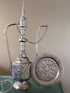Middle Eastern Silver pot with 2 lamps and silver tray / plate.