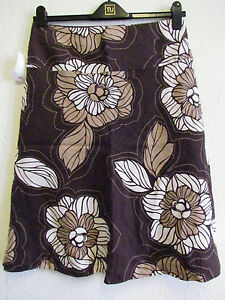 H&M 100% linen chocolate brown printed A-line skirt  size UK 12 NEW
