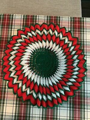 "Hand Crocheted Christmas Tree Skirt Red White Green Circle Vintage 23"" Diameter"