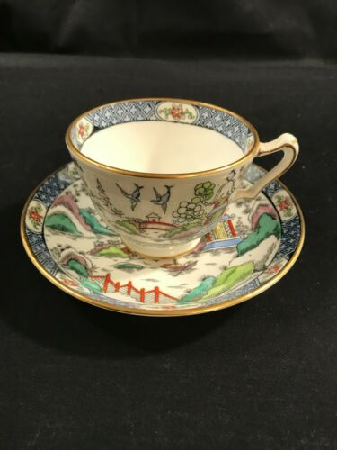 Vintage GAUDY Blue Willow Tea Cup & Saucer Fine Bone China Crown Staffordshire