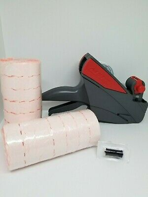 Meto 10.26 Price Labeling Gun Box Fluro Red Labels Ink Roller Value Pack