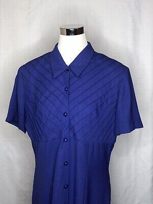 Danny & Nicole Long Sheath Button Up Dress Women's 16 Short Sleeve Washable Blue