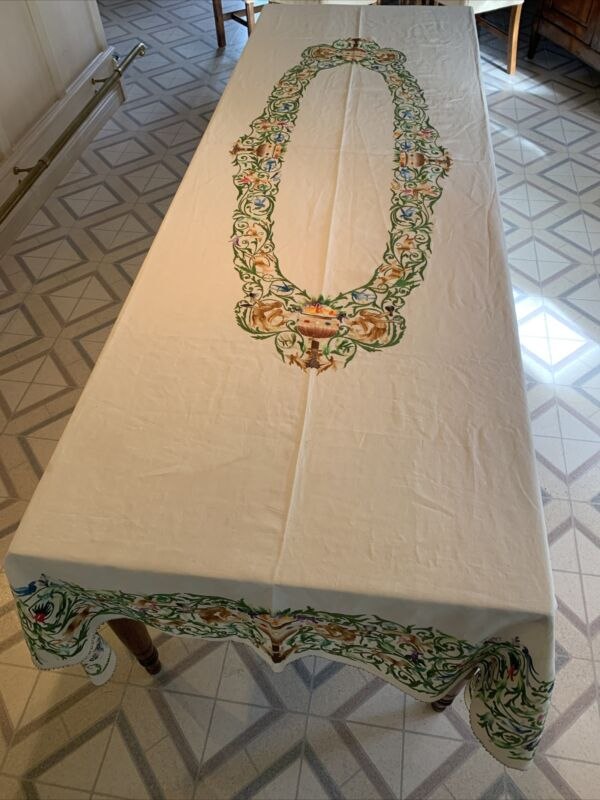 Rare Antique Hand Embroidered Fantastical Creatures  Linen Banquet Tablecloth