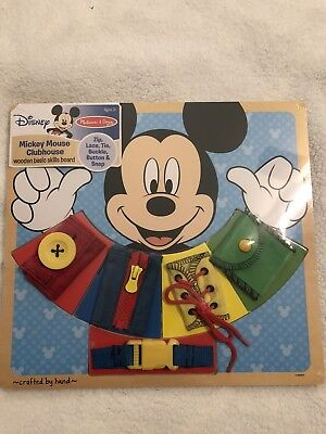 New Disney Melissa & Doug Mickey Mouse Clubhouse Wooden Basic Skills Board](Melissa And Doug Basic Skills Board)