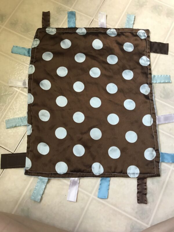 Brown with Blue polka Dots Sensory Baby Jack Security Educational Taggies Lovey