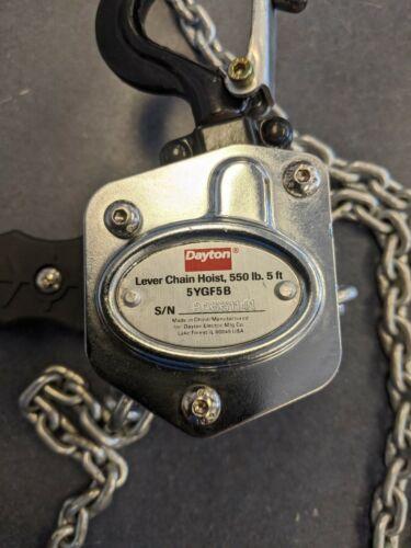 Dayton 5YGF5B 550 lb Lever Chain Hoist, 5 ft Lift, No Box
