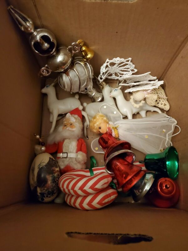 Vintage Christmas Lot Santa Reindeer Tree Topper Bells Candy Cane