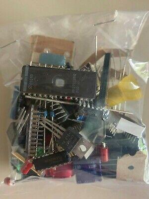 Mixed Lot Grab Bag Electronic Components-caps Resistors Ics Diodes More