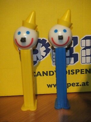 2 U.S.-PEZ SPENDER-JACK IN THE BOX-YELLOW AND BLUE STEM-SET OF 2