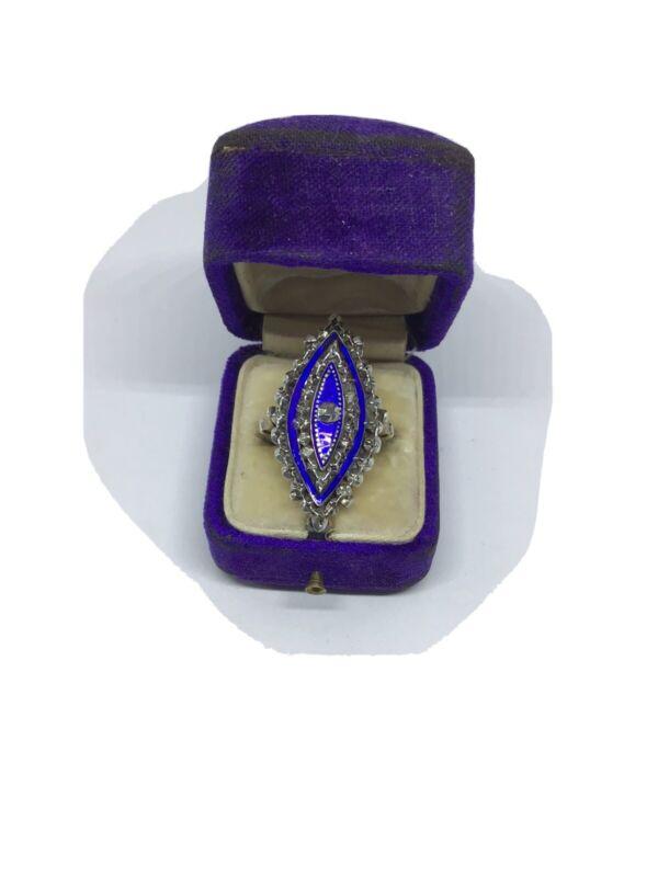 Georgeous Antique Georgian Diamond, Enamel, 9 Ct. W. G. Ring