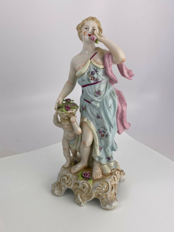 Vintage French porcelain lady With Child Flower Basket  figurine statue
