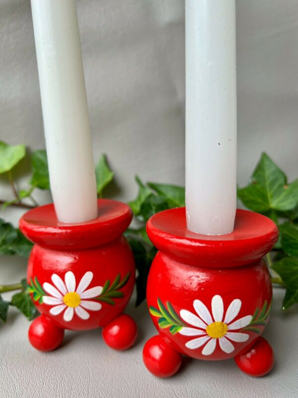 Vintage Swedish Folk Art Wooden Red Ball Candle Holders*Daisies* Christmas Decor