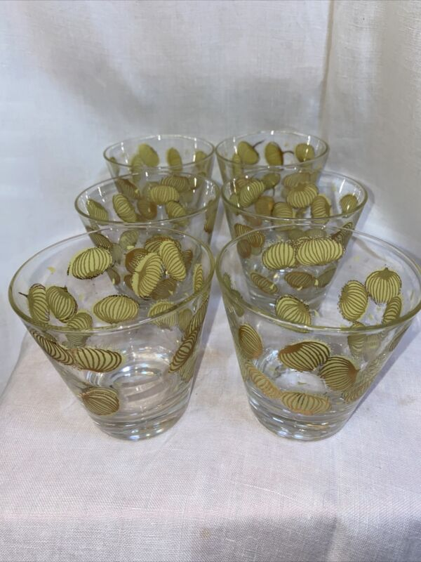 Vintage S/6 FRED PRESS Single Old Fashion Glasses Gold & Yellow Bloom Design