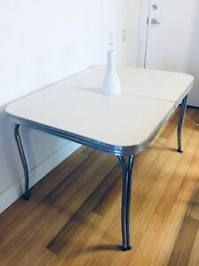 MID CENTURY MODERN ARBORITE CHROME KITCHEN DINING TABLE VINTAGE