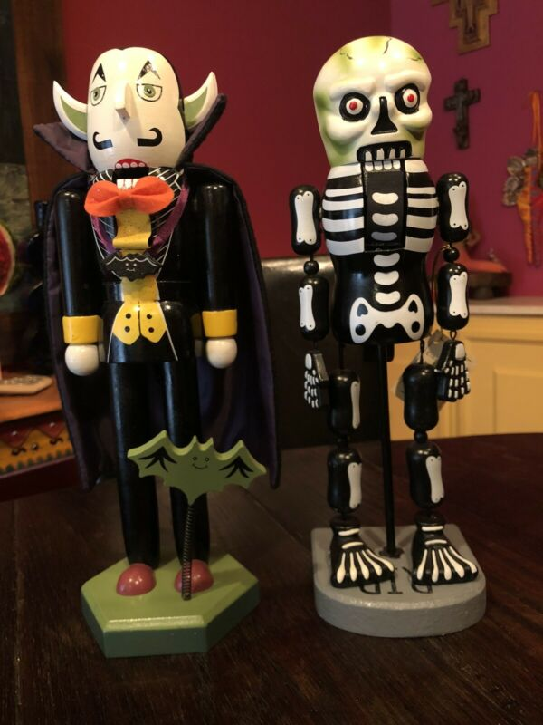 2 Limited Edition Nutcrackers Vampire Skeleton Bat Halloween 14""