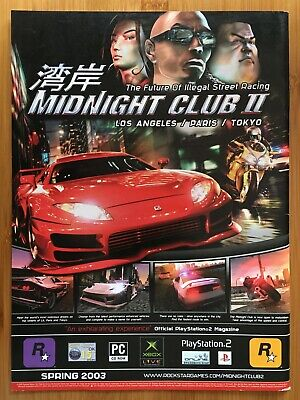 Midnight Club II 2 PS2 2003 Vintage Print Ad/Poster Official Racing Game Art UK