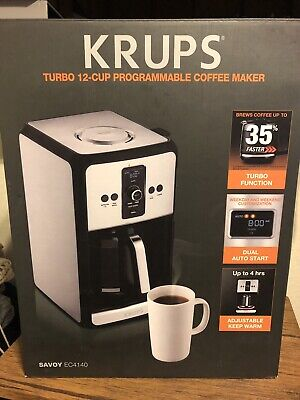 Krups Savoy EC4140 Turbo 12 Cup Programmable Coffee Maker Stainless