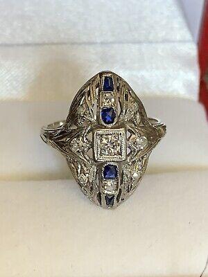 Antique 1920's Art Deco Genuine Diamond Sapphire 14k Solid White Gold Ring