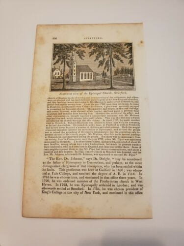 View Of The Episcopal Church Stratford Connecticut C. 1836 Engraving  - $9.95