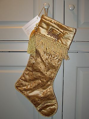 NEW Frontgate Deluxe Personalized Christmas Stocking DOROTHY Gold Velvet MSRP$50 - Personalized Velvet Christmas Stockings