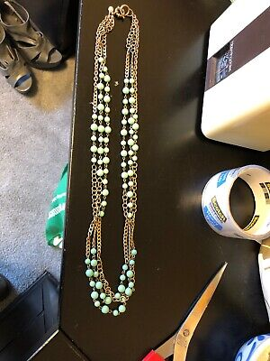 J CREW light green Multi Strand Beaded Chain Necklace Antique Gold