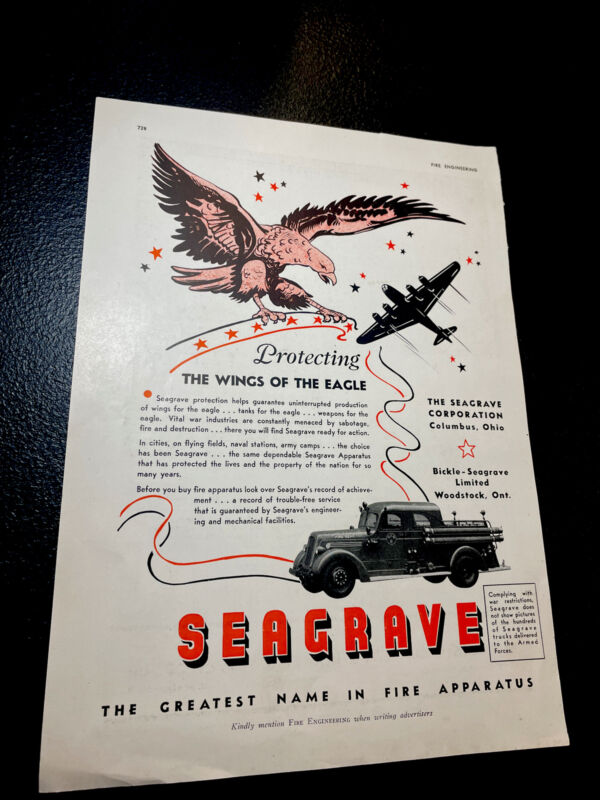 1942 Seagrave Fire Truck Advertising - Columbus - Ohio - Emergency Rescue 🔥