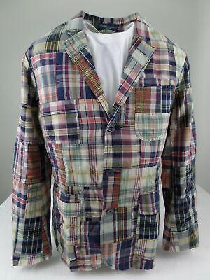 Polo Ralph Lauren Men's MADRAS PATCH Plaid Blazer Sport Suit Coat Jacket 44 R Custom Fit Three Button Suit
