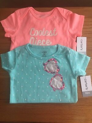 New Carter's Baby Girls Graphic-Print Bodysuit set of Two Size 18 months