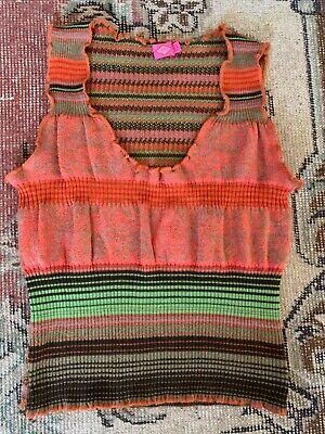 Oilily Womens Multi Color Knit Top / Vest Wool Blend Size M Excellent