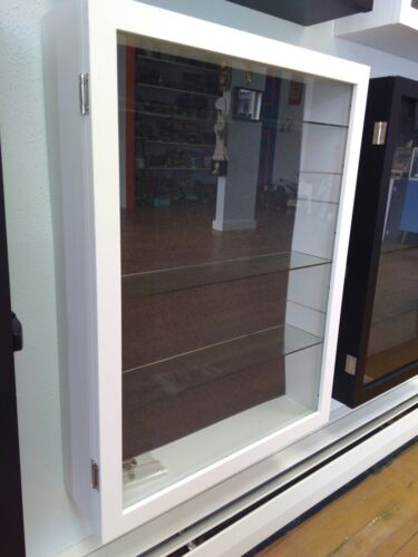 Wall Display Case Adj Glass Shelves - Wood Shadowbox  Curio Exhibit Locks