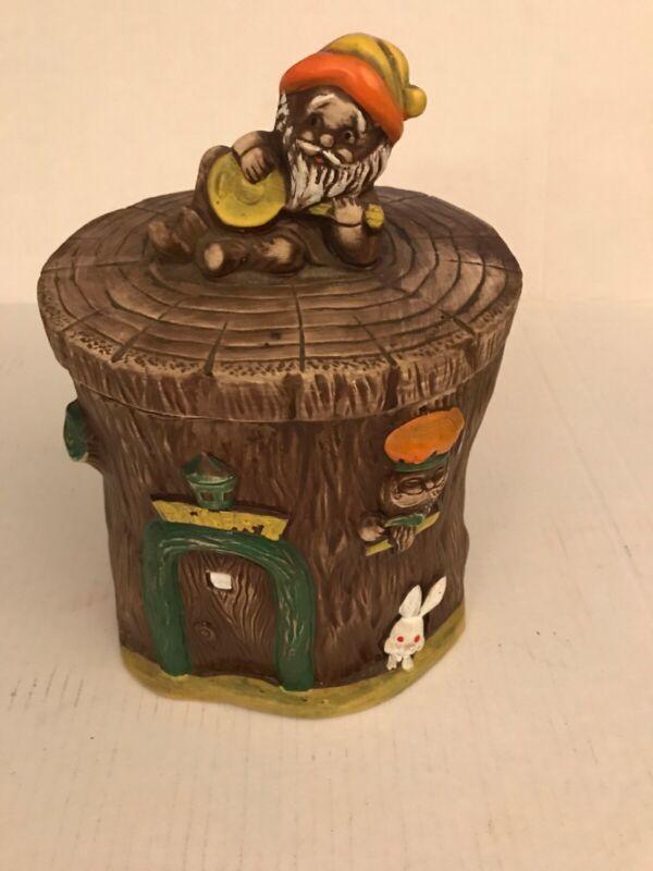 Elf Gnome Bakery Tree Trunk Cookie Jar Norleans 1960 Japan Great Shape Vintage