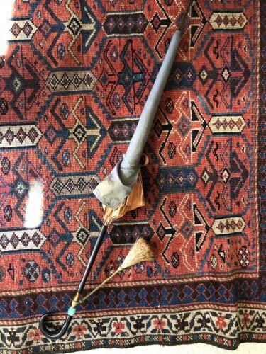 Vintage Umbrella Gold Green Fabric Tassel Handle PK Polan Katz