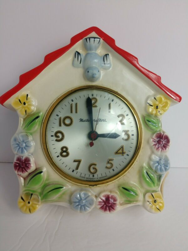 Vintage Mastercrafters Porcelain Hanging Wall Kitchen Clock Bird + Flowers Rare