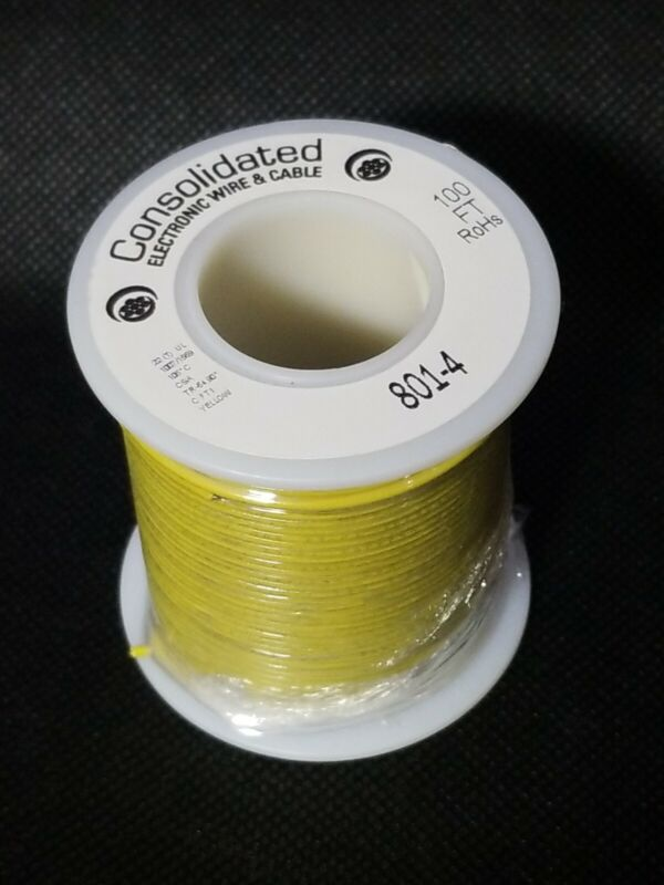 Consolidated 22 Gauge (22ga) Yellow Solid Copper Tinned Hookup Wire 100ft Spool