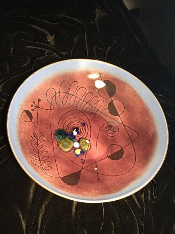 Edward Winter Modern Abstract Design Copper Enamel  Bowl